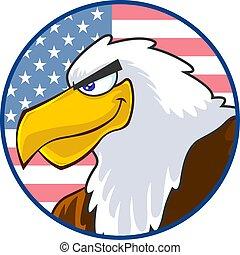 Eagle Bird Cartoon Character Over USA Flag Label