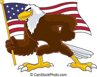 Eagle Bird Cartoon Character Waving American Flag