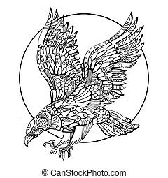 Eagle Bird Coloring Book For Adults Vector