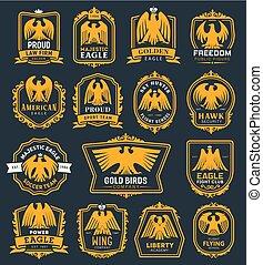 Eagle bird heraldic icons, hawk heraldry symbols