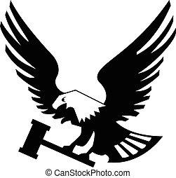 Eagle bird with hammer isolated on white backgroundicon.