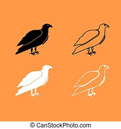 Eagle black and white set icon .
