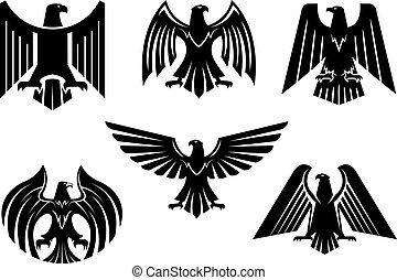 Eagle blazon vector isolated heraldic birds icons