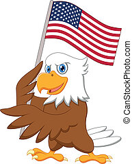 Eagle cartoon holding American flag - Vector illustration of...