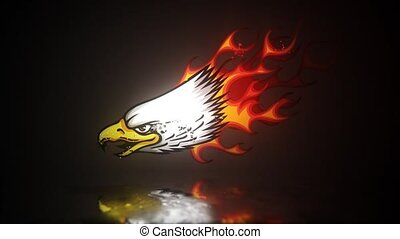 Eagle cartoon mascot with flames for tattoo design, such a logo. video