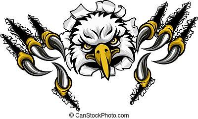 Eagle Cartoon Sports Mascot Tearing Background
