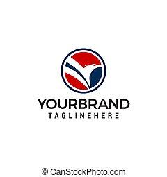 Eagle circle logo design concept template vector