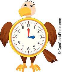 Eagle clock on white background