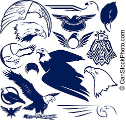 A clip art collection of eagles