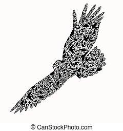 eagle composite of bird ,vector ill