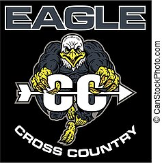 eagle cross country team design with running mascot for school, college or league