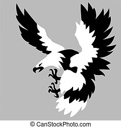 eagle drawing on gray background
