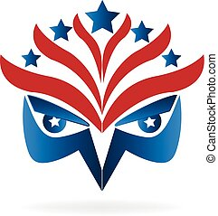 Eagle face symbol USA flag logo