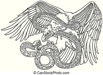 eagle fighting a snake outline - the battle of the eagle and...