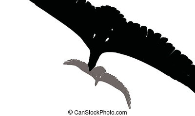 Eagle flies over the earth, black on white.