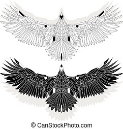 Eagle flying on white backgroun.