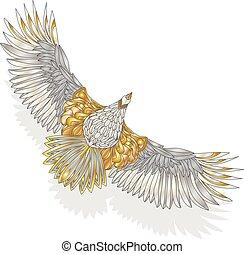Eagle flying on white background.