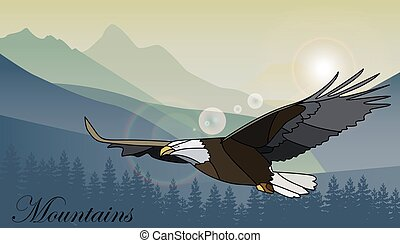 Eagle flying over the mountains. Vector illustration.