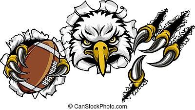 Eagle Football Cartoon Mascot Tearing Background