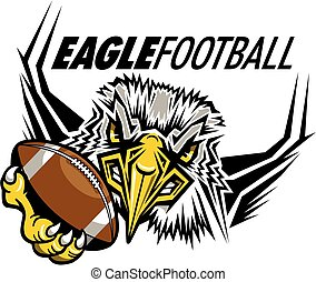 eagle football mascot holding ball in claw for school,...