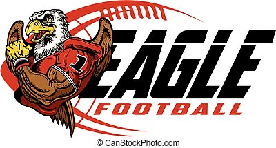 eagle football team design with mascot and ball for school, ...