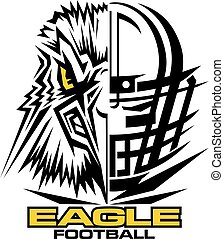 eagle football team design with mascot and facemask for...