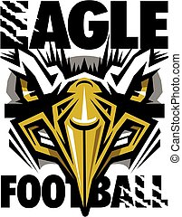 eagle football team design with mascot face for school,...