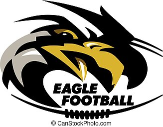 eagle football team design with mascot head and laces for...