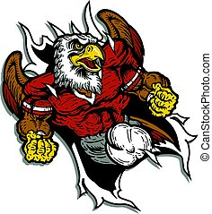 eagle football team design with mascot ripping through the...