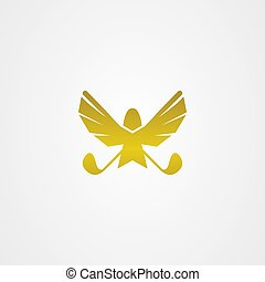 Eagle golf icon logo vector design.