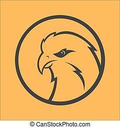 Eagle, hawk, falcon logo. Sport mascot. Predator bird logotype template