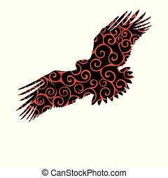 Eagle hawk golden eagle bird spiral pattern color silhouette...
