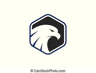 Eagle head in polygon shape Vector Logo Template