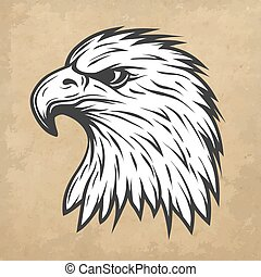 Proud eagle head in profile. Line art style. Vector illustration.
