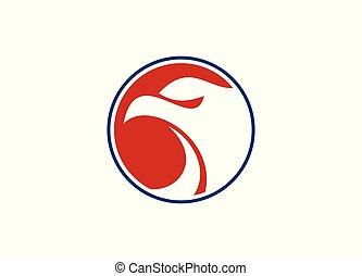 Eagle head in round shape Vector Logo