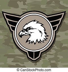 Eagle head logo emblem template mascot symbol for business or shirt design. Vector military design  element.