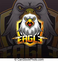 Eagle head mascot e sport logo design
