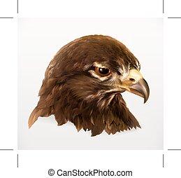 Eagle head, realistic vector illustration