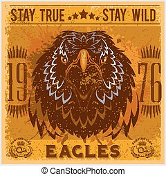 Eagle head - T-shirt print with hunting club on dark...