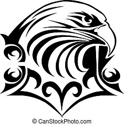 Eagle head tattoo design, vintage engraving.