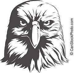 Eagle Head Vector - Front View Silhouette - A vector image...