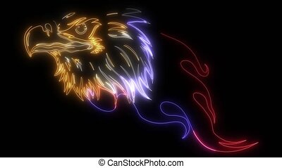 Eagle Head with Flames video animation
