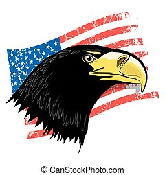 Eagle Head with Grunge American Flag - Vector USA Symbol