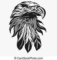 Eagle head with Tribal Feathers vector