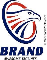 eagle heads with circle logo . creative falcon head logotype...
