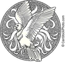 Eagle heraldry coat of arms. Labels, emblems
