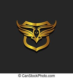 Eagle hunting. Eagle with gold space on black background. Vector illustration.