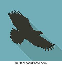 Eagle Icon in black color in a flat design. Vector illustration
