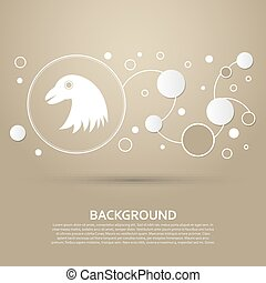 eagle icon on a brown background with elegant style and modern design infographic. Vector