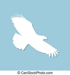 Eagle icon with shadow in a flat design. Vector illustration